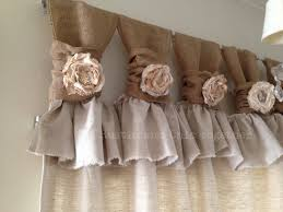 Burlap For Curtains Burlap Drop Cloth Wide Ruched Tabs Curtains Tea Dyed Rosette