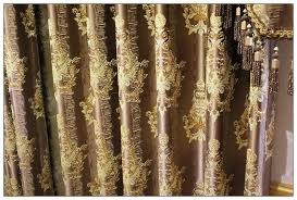 Brown Gold Curtains Luxury Coffee Brown Golden Spark Flower Pattern The Classical