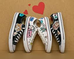 Wedding Shoes Converse Custom Wedding Converse Chucks Converse Customized Painted