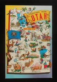 Utah State Map 1960s Postcard State Map Of Utah Landmarks Icons Flag Sea Gull Ut