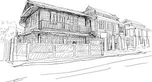 city scape drawing sketch in thai wood house vector stock