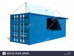 a render of a blue shipping container converted into a township