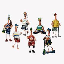 dept 56 7 flamingo sports ornaments resin and fabric