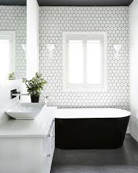 White Tiles For Bathroom Walls - still loving the recurring style of bold contrast using a neutral