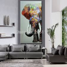 Elephant Room Decor Hand Painted Large Big Elephant Wall Art Abstract Textured
