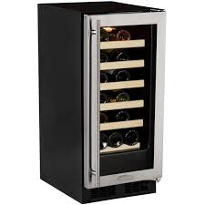 stainless steel glass door marvel 23 bottle wine cooler w microsentry black cabinet and