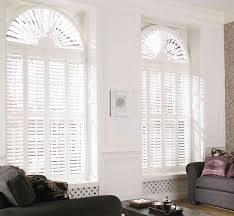 plantation shutter blind design for large arched window treatment