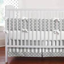 White Nursery Bedding Sets Gray And White Dots And Stripes 3 Crib Bedding Set