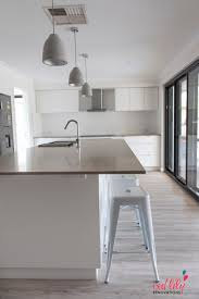 Light Pendants Kitchen by Red Lily Renovations Perth White Kitchen With Caesarstone