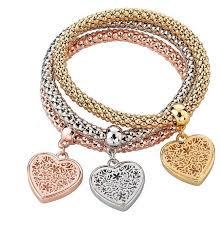 bracelet with hearts images Women alloy bangle bracelet with hearts charms jpg