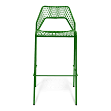 green polished cast iron bar stool with decorative seat and back