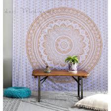golden color ombre mandala tapestry