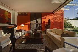 Orange Accent Wall by Fascinating Orange Living Room Decor For Unique And Specific View