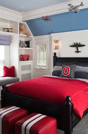 fun red blue gray boy u0027s bedroom design with black wood poster bed