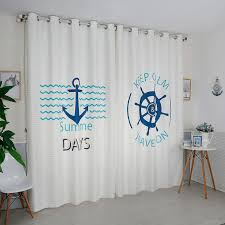 White And Teal Curtains White Nautical Print Poly Cotton Blend Curtains