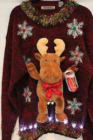 Ugly Christmas Sweater With Lights Ugly Christmas Sweater Naughty Moose Budweiser Mens Size Xlt