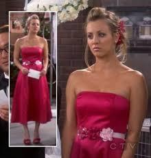 wornontv penny u0027s pink red bridesmaid dress with flower belt on