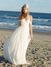off the shoulder sweetheart soft chiffon summer beach wedding