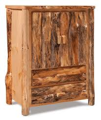 amish rustic pine log armoire