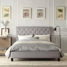 Tufted Sleigh Bed Bed Frames Tufted Headboard Bedroom Set Modern Upholstered