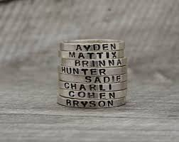 stackable engraved mothers rings sted name ring etsy