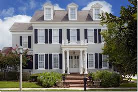 gray exterior white trim black shutters exterior and gardens