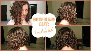 how to cut your own curly hair in layers my new hair cut inverted curly bob youtube