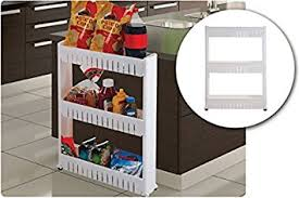 Kitchen Cabinet With Wheels by Amazon Com Slim Storage Cabinet Organizer Slide Out Cart Rack