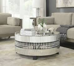 silver mirrored coffee table round mirrored coffee table silver crystal cut modern contemporary
