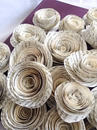 Paper Roses Book Page Roses Set Of 30 Paper Roses Wedding Flowers