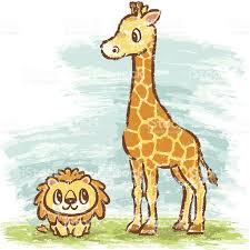 imagenes de amistad jirafas jirafa y león arte vectorial de stock y más imágenes de amistad