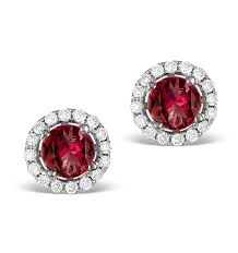 diamond earrings uk diamond halo ruby earrings 0 65ct 18k white gold fg27 ty item