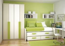 cheerful kids room interior design with green and white color