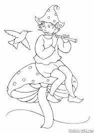 coloring page elf playing the flute