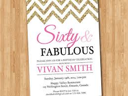 60th birthday invitation women sixty and fabulous glitter glam