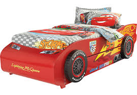 rooms to go twin beds disney cars lightning mcqueen red 5 pc twin bed w trundle beds colors