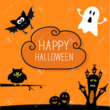 happy ghost clipart haunted house pumpkins owl bat ghost cloud in the sky