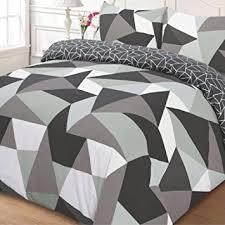 just contempo geometric duvet cover set single grey amazon co