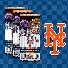 sports invites new york mets ticket style sports party invitations