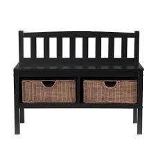 Rattan Baskets by Amazon Com Southern Enterprises Storage Bench With Rattan Baskets