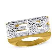 Initials Ring Men U0027s Beaded Texture Initial Ring In Sterling Silver And 14k Gold