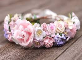 headband flowers blush flower crown pink bridal headband wedding hair crown