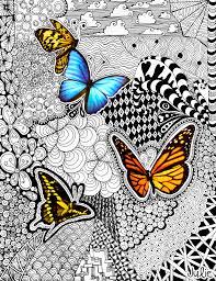 butterfly tangle art drawing julie erin designs