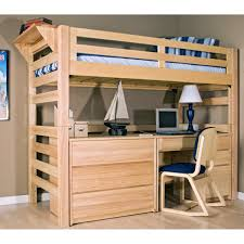 home design wooden loft bunk bed with desk and workspace
