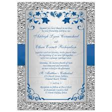 royal blue and silver wedding royal blue wedding invitation faux foil silver floral printed