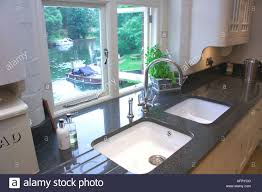 White Granite Kitchen Sink White Sinks In Granite Worktops In Front Of Kitchen Window