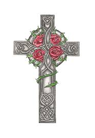 cross designs with roses