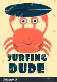 surfing dude crab vector illustrationtshirt graphics stock vector