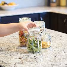 Glass Kitchen Canisters Airtight by Amazon Com Anchor Hocking Round Glass Storage Canister Set With
