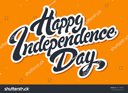 happy independence day hand drawn lettering stock vector 437178607